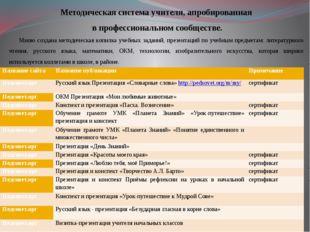 Методическая система учителя, апробированная в профессиональном сообществе. М
