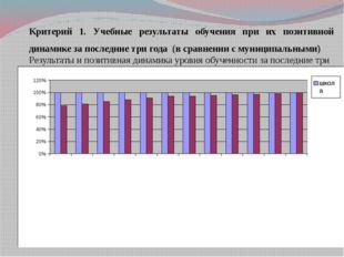 Критерий 1. Учебные результаты обучения при их позитивной динамике за последн