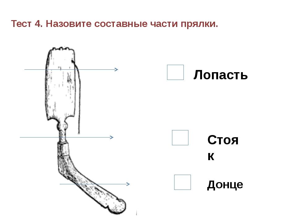 Тест 4. Назовите составные части прялки. 1. 2. 3. Лопасть Стояк Донце
