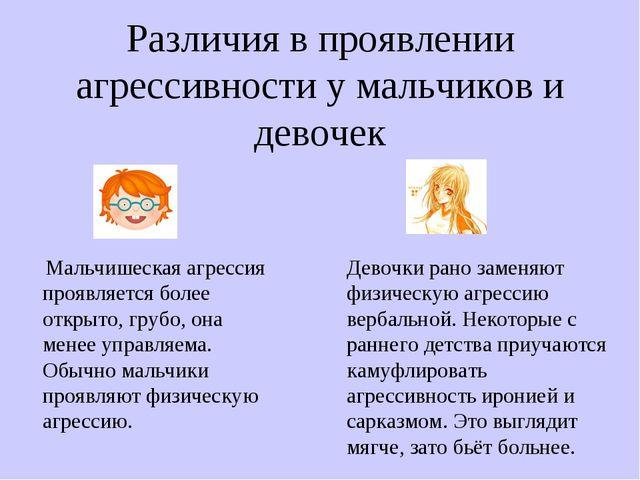 Различия в проявлении агрессивности у мальчиков и девочек Мальчишеская агресс...