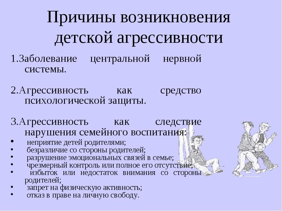 1.Заболевание центральной нервной системы. 2.Агрессивность как средство психо...