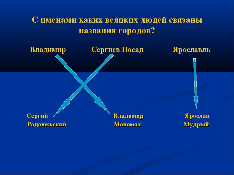 С именами каких великих людей связаны названия городов? Владимир Сергиев Поса...