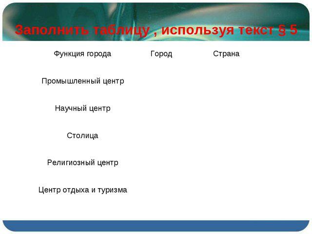 Заполнить таблицу, используя текст §5 Функция городаГородСтрана Промышле...