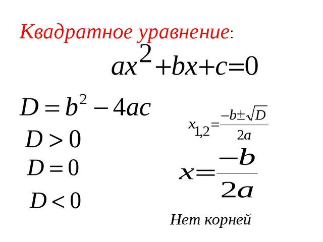 Квадратное уравнение: Нет корней