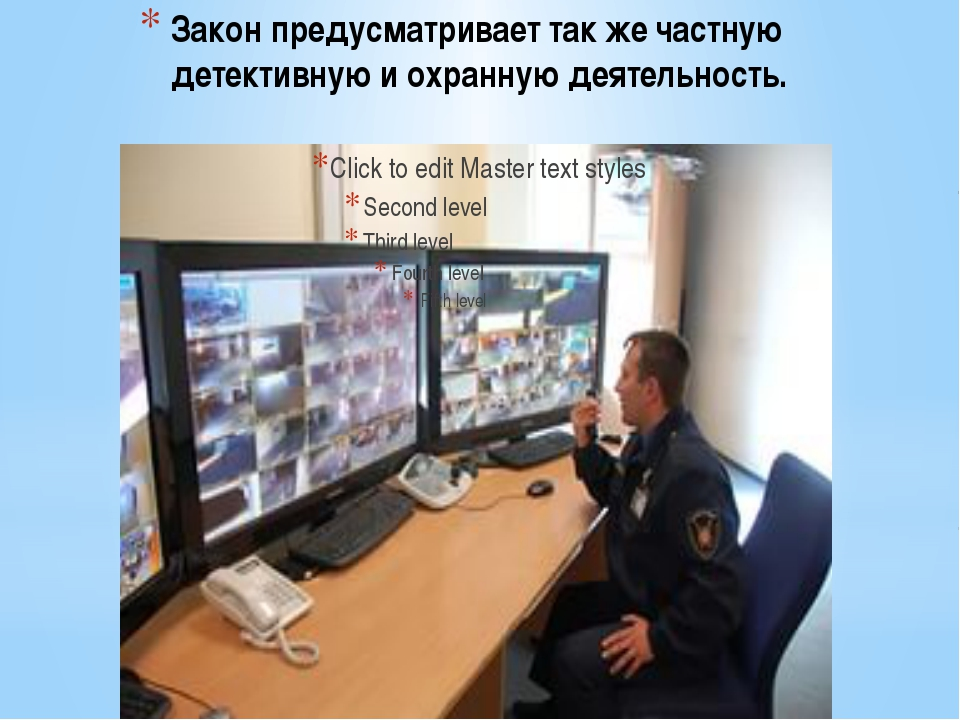 Закон предусматривает так же частную детективную и охранную деятельность.