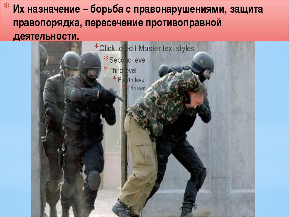 Их назначение – борьба с правонарушениями, защита правопорядка, пересечение п...