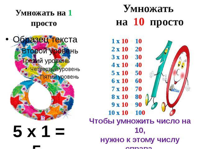 Умножать на 1 просто 5 х 1 = 5 Умножать на 10 просто 1 х 10 = 10 2 х 10 = 20...