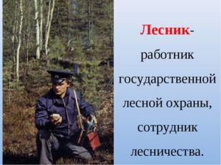 Лесник- работник государственной лесной охраны, сотрудник лесничества.