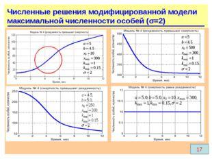 17 Численные решения модифицированной модели максимальной численности особей