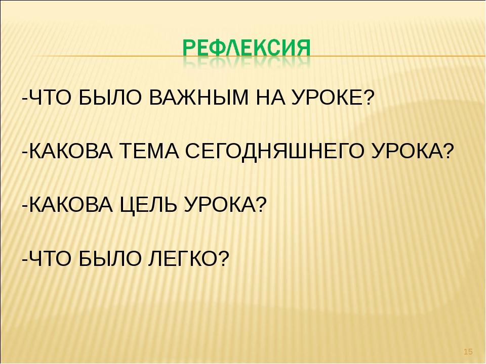 -ЧТО БЫЛО ВАЖНЫМ НА УРОКЕ? -КАКОВА ТЕМА СЕГОДНЯШНЕГО УРОКА? -КАКОВА ЦЕЛЬ УРОК...
