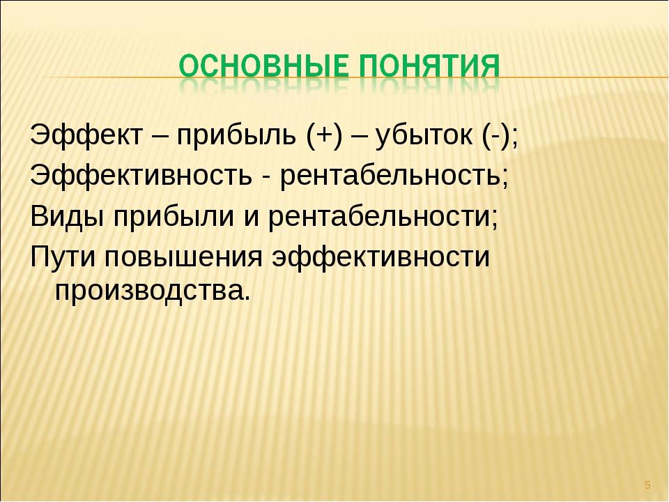 Эффект – прибыль (+) – убыток (-); Эффективность - рентабельность; Виды прибы...