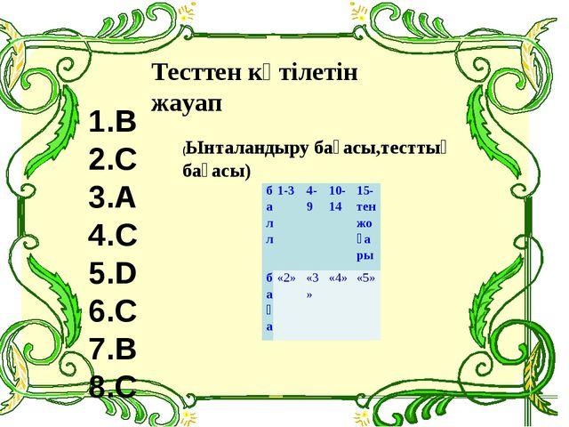 1.B 2.C 3.A 4.C 5.D 6.C 7.B 8.C Тесттен күтілетін жауап (Ынталандыру бағасы,т...