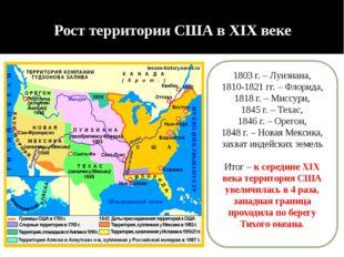 Рост территории США в XIX веке 1803 г. – Луизиана, 1810-1821 гг. – Флорида, 1