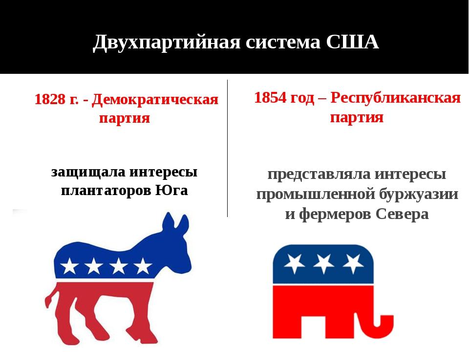 Двухпартийная система США 1828 г. - Демократическая партия защищала интересы...