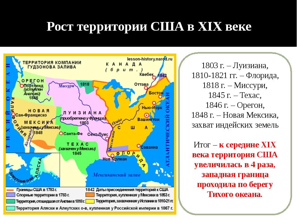 Рост территории США в XIX веке 1803 г. – Луизиана, 1810-1821 гг. – Флорида, 1...