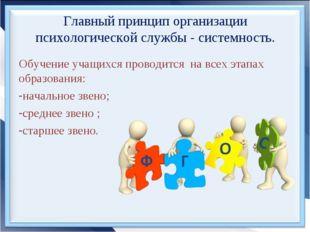 Главный принцип организации психологической службы - системность. Обучение уч