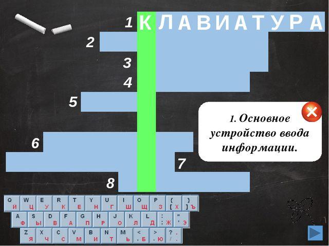 1 2 3 4 5 6 8 7 1. Основное устройство ввода информации. К Л А В И А Т У Р А