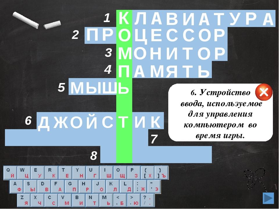 6 1 2 3 4 5 8 7 6. Устройство ввода, используемое для управления компьютером...