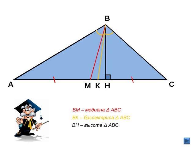 В С А Н ВК – биссектриса Δ АВС ВМ – медиана Δ АВС ВН – высота Δ АВС М К