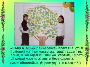 «Өмір ағашы» бейнеленген плакатқа, стөл үстіндегі жатқан жасыл жапырақтарды