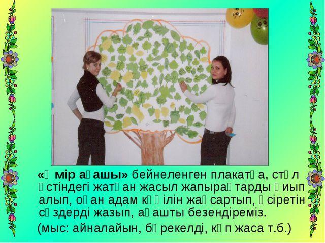 «Өмір ағашы» бейнеленген плакатқа, стөл үстіндегі жатқан жасыл жапырақтарды...