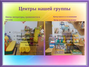Центры нашей группы Центр литературы, грамотности и письма Центр науки и есте
