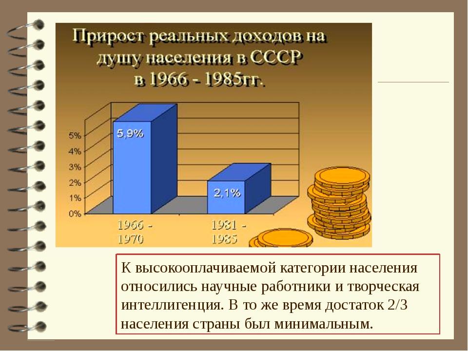 К высокооплачиваемой категории населения относились научные работники и творч...
