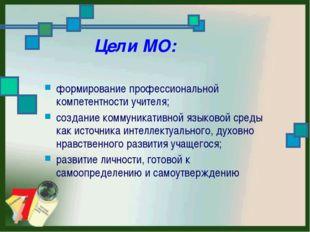 Цели МО: формирование профессиональной компетентности учителя; создание комм