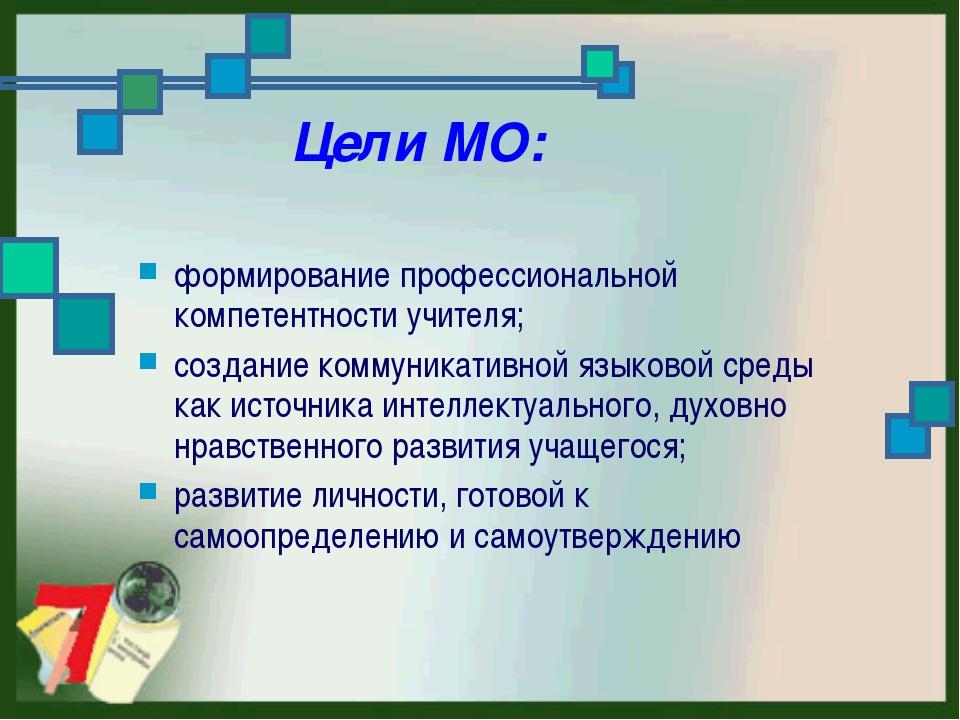 Цели МО: формирование профессиональной компетентности учителя; создание комм...