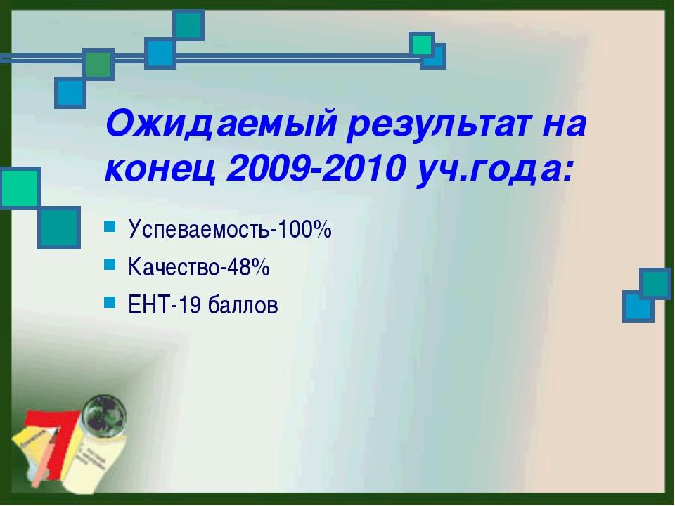Ожидаемый результат на конец 2009-2010 уч.года: Успеваемость-100% Качество-48...