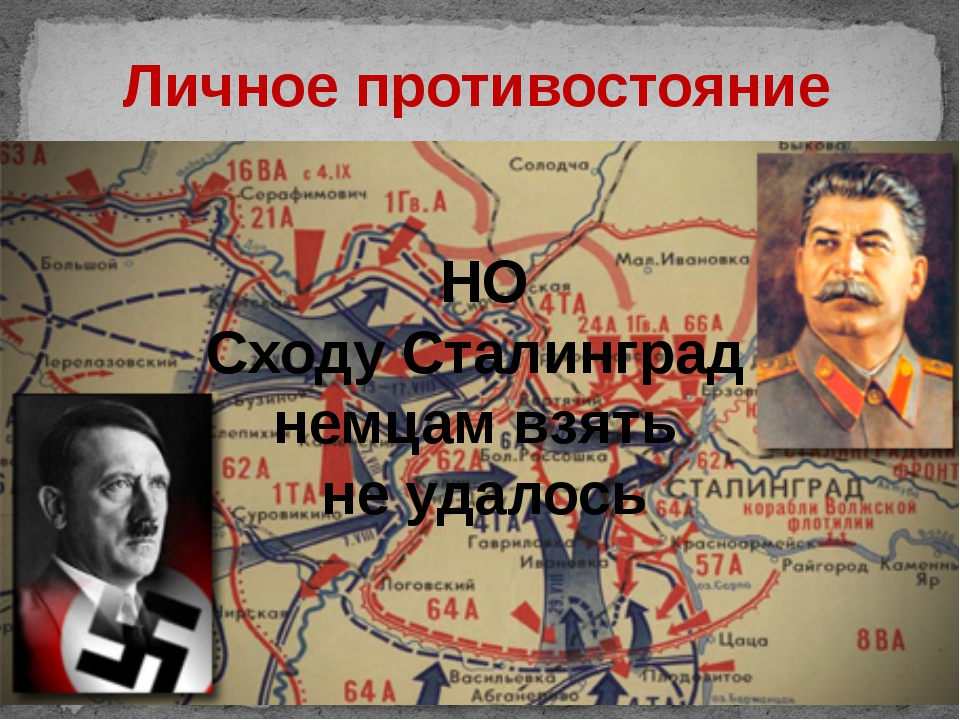 Личное противостояние НО Сходу Сталинград немцам взять не удалось