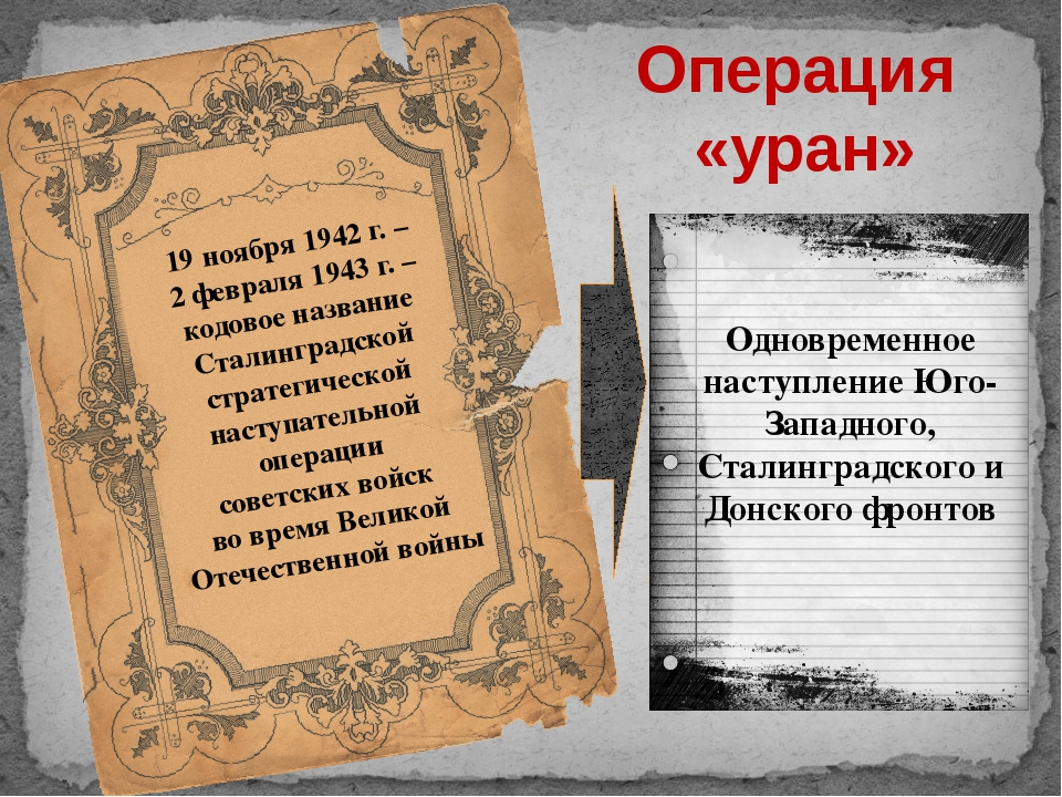 Операция «уран» 19 ноября 1942 г. – 2 февраля 1943 г. – кодовое название Стал...