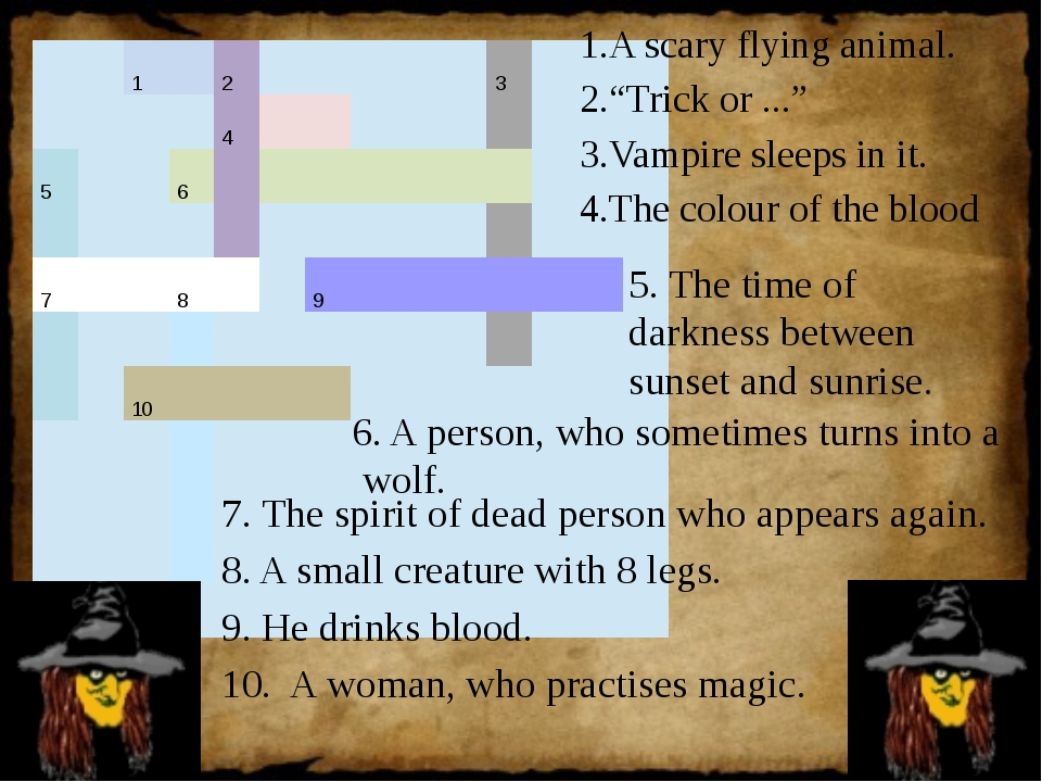 "A scary flying animal. ""Trick or ..."" Vampire sleeps in it. The colour of the..."