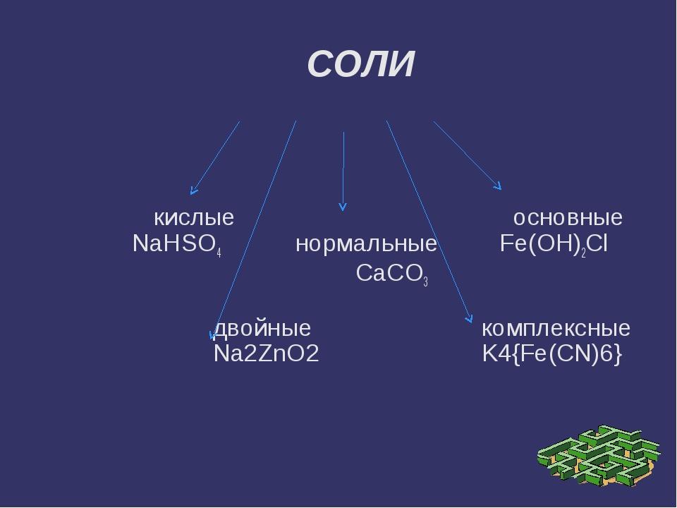 кислые основные NaHSO4 нормальные Fe(OH)2Cl CaCO3 двойные комплексные Na2ZnO...