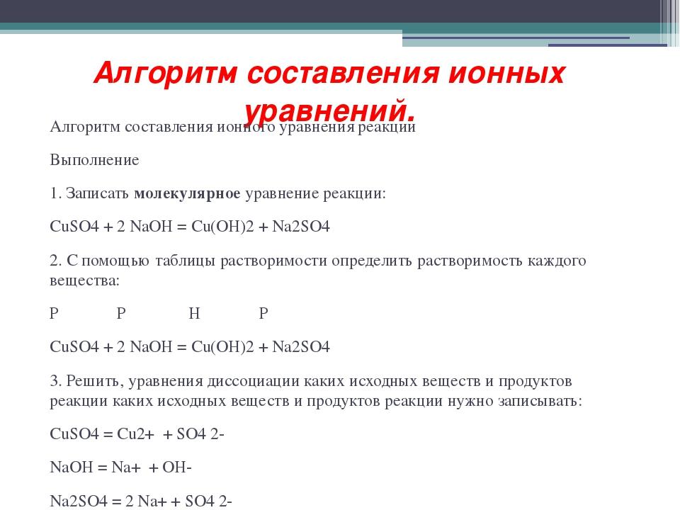 Алгоритм составления ионных уравнений. Алгоритм составления ионного уравнения...