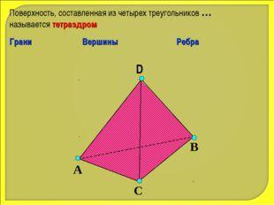 D А С В Поверхность, составленная из четырех треугольников … называется тетра