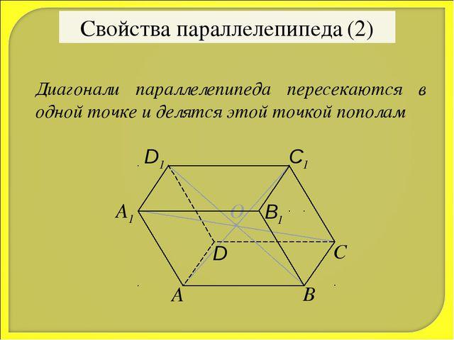 О Свойства параллелепипеда (2) Диагонали параллелепипеда пересекаются в одной...