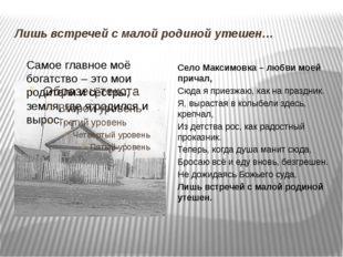 Лишь встречей с малой родиной утешен… Село Максимовка – любви моей причал, Сю