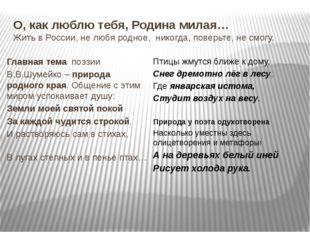 О, как люблю тебя, Родина милая… Жить в России, не любя родное, никогда, пове