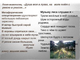 Поэт-живописец. «Душа моя в лугах, на воле поёт с рекою в унисон…» Метафориче