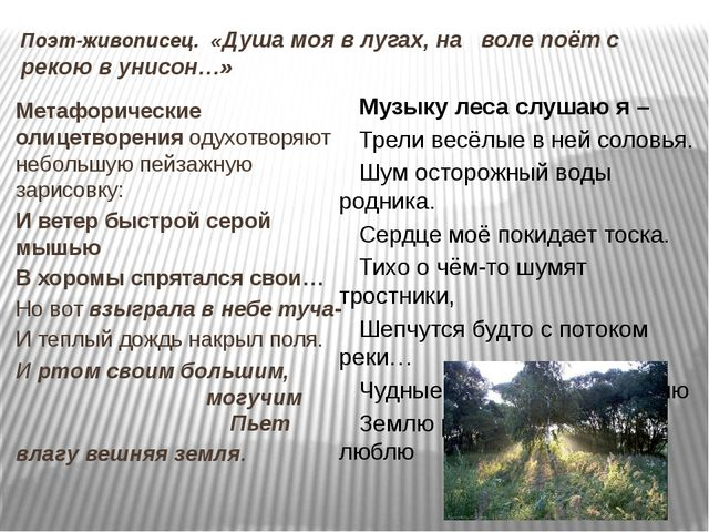 Поэт-живописец. «Душа моя в лугах, на воле поёт с рекою в унисон…» Метафориче...