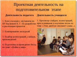 Проектная деятельность на подготовительном этапе Деятельность педагога 1. Кон