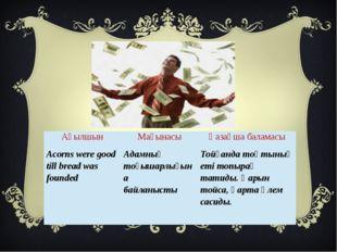 Ағылшын Мағынасы Қазақша баламасы Acorns were good till bread was founded Ада