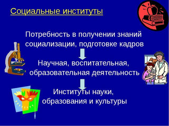 Социальные институты Потребность в получении знаний социализации, подготовке...