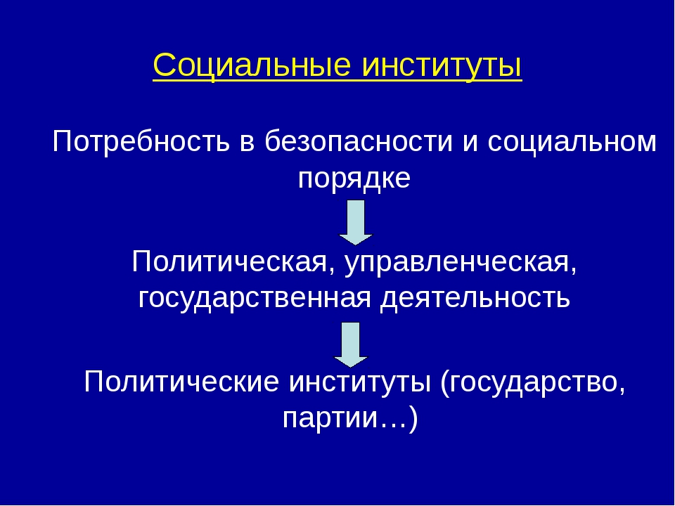 Социальные институты Потребность в безопасности и социальном порядке Политиче...