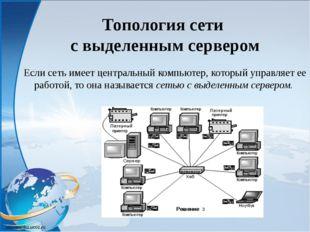 Если сеть имеет центральный компьютер, который управляет ее работой, то она н