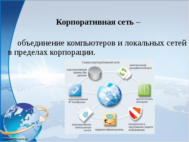 Корпоративная сеть – объединение компьютеров и локальных сетей в пределах к...