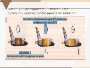 Внешний наблюдатель 2 знает, что скорость света постоянна и не зависит от нап