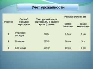 УчастокСпособ посадки картофеляУчет урожайности картофеля, с одного куста (