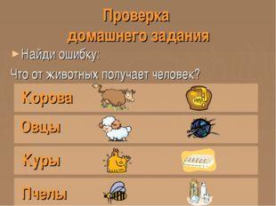 Проверка домашнего задания Найди ошибку: Что от животных получает человек? Ко